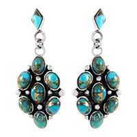 Sterling Silver Earrings Matrix Turquoise E1095-C84 Turquoise Jewelry