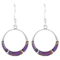 Sterling Silver Earrings Purple Turquoise E1287-C07