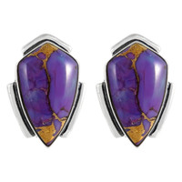 Sterling Silver Earrings Purple Turquoise E1290-C77