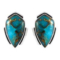 Sterling Silver Earrings Matrix Turquoise E1290-C84