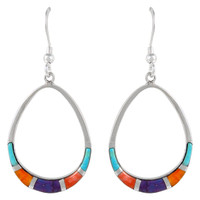 Sterling Silver Earrings Multi Gemstone E1291-C01