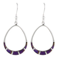 Sterling Silver Earrings Purple Turquoise E1291-C07