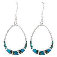 Sterling Silver Earrings Matrix Turquoise E1291-C84