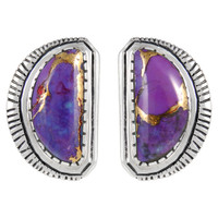 Sterling Silver Earrings Purple Turquoise E1293-C77