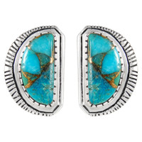 Sterling Silver Earrings Matrix Turquoise E1293-C84