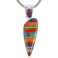 Sterling Silver Pendant Multi Gemstone P3225-C00