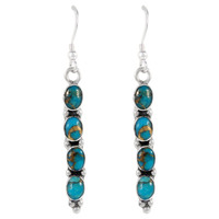 Sterling Silver Earrings Matrix Turquoise E1174-C84
