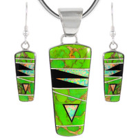 Sterling Silver Pendant & Earrings Set Green Turquoise PE4030-C22