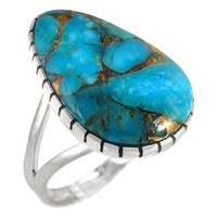 Sterling Silver Ring Matrix Turquoise R2411-C84