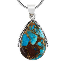 Sterling Silver Pendant Lava Rock Turquoise P3075-BAIL-C95