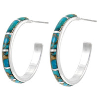 Sterling Silver Hoop Earrings Matrix Turquoise E1255-C84