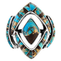 Sterling Silver Ring Lava Turquoise R2040-C95