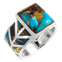 Sterling Silver Ring Lava Turquoise R2372-C95