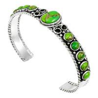 Sterling Silver Bracelet Green Turquoise B5173-C76