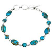 Sterling Silver Link Bracelet Matrix Turquoise B5557-C84