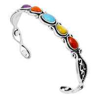Sterling Silver Bracelet Multi Gemstone B5567-C71