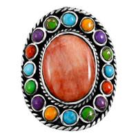 Multi Gemstone Flower Ring Sterling Silver R2031-C72