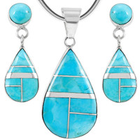 Sterling Silver Pendant & Earrings Set Turquoise PE4023-LG-C05