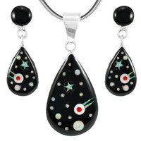 Sterling Silver Pendant & Earrings Set Black Shooting Stars PE4023-LG-C27
