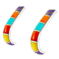 Sterling Silver J-Hoop Earrings Multi Gemstones E1153-C01