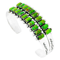 Sterling Silver Bracelet Green Turquoise B5500-C76