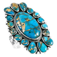 Sterling Silver Ring Matrix Turquoise R2418-C84