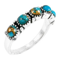 Sterling Silver Ring Matrix Turquoise R2347-C84
