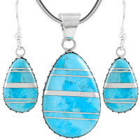 Sterling Silver Pendant & Earrings Set Turquoise PE4056-C05
