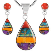 Sterling Silver Pendant & Earrings Set Multi Gemstone PE4023-SM-C01A