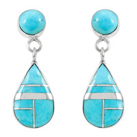 Turquoise Earrings Sterling Silver E1056-LG-C05