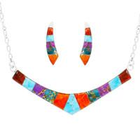 Turquoise & Gemstones Necklace Earrings Set Sterling Silver NE6001-C01