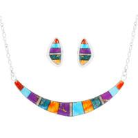 Turquoise & Gemstones Necklace Earrings Set Sterling Silver NE6003-C01