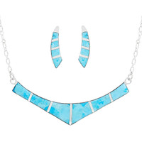 Turquoise Necklace Earrings Set Sterling Silver NE6001-C05