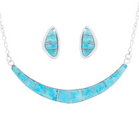 Turquoise Necklace Earrings Set Sterling Silver NE6003-C05