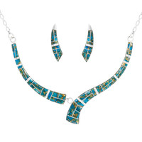 Matrix Turquoise Necklace Earrings Set Sterling Silver NE6002-C84