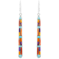 Multi Gemstone Drop Earrings Sterling Silver E1250W-C51