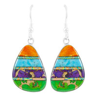 Multi Gemstone Drop Earrings Sterling Silver E1058-C01