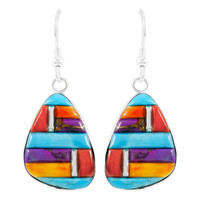 Multi Gemstone Drop Earrings Sterling Silver E1058-C51