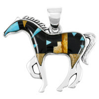 """Horse Jewelry Pendant Sterling Silver 2"""" Wide Multi Gemstone P3049-LG-C04 (LARGER SIZE)"""