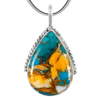 Spiny Turquoise Pendant Sterling Silver P3075-C89