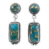 Matrix Turquoise Earrings Sterling Silver E1118-C84