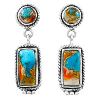 Spiny Turquoise Earrings Sterling Silver E1118-C89