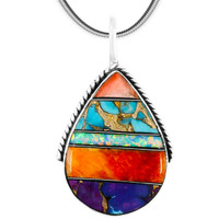 Sterling Silver Pendant Multi Gemstone P3075-C00