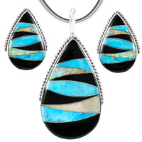 Multi-Gemstone Pendant & Earrings Set Sterling Silver PE4054-C39