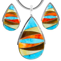 Multi-Gemstone Turquoise Pendant & Earrings Set Sterling Silver PE4054-C41