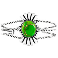 Green Turquoise Bracelet Sterling Silver B5570-C76