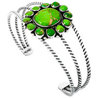 Green Turquoise Bracelet Sterling Silver B5572-C76