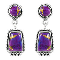 Purple Turquoise Earrings Sterling Silver E1296-C77