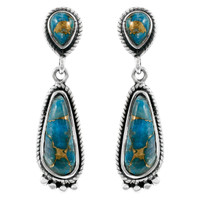 Matrix Turquoise Earrings Sterling Silver E1012-C84