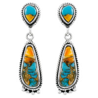 Spiny Turquoise Earrings Sterling Silver E1012-C89